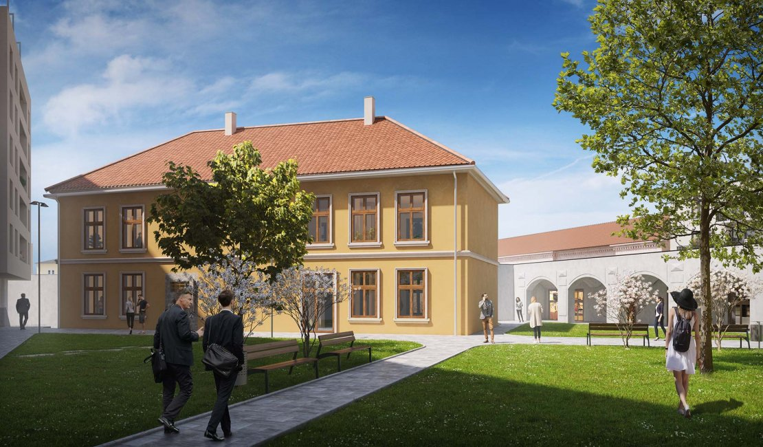 Directly in the courtyard there are historical buildings of Mlynská bašta and the Laboratory
